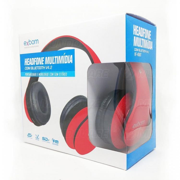 Headphone Bluetooth Dobrável com Rádio FM Cartão Micro SD Fone Sem Fio Estéreo Exbom HF-400BT