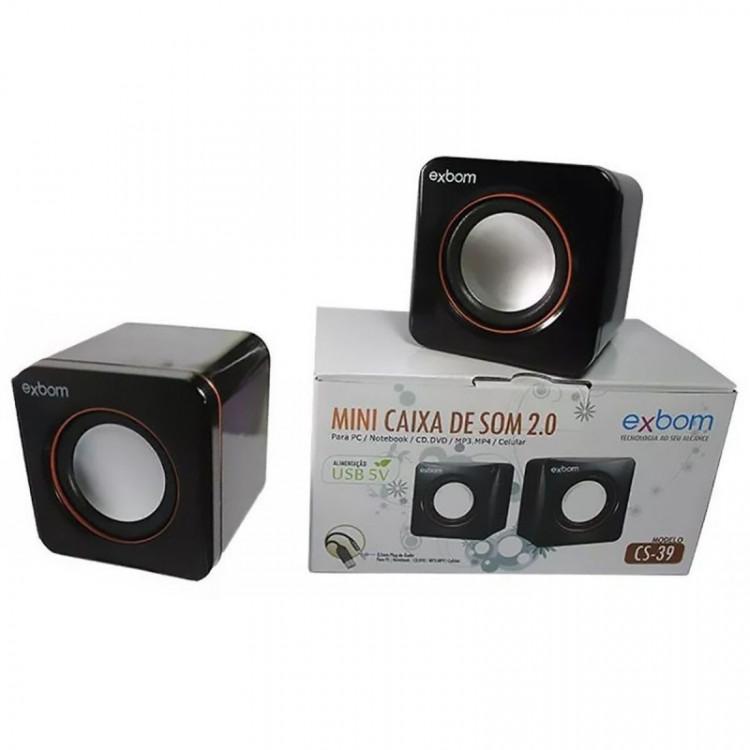 Mini Caixa de Som 2.0 4W RMS para PC Notebook e Celular Exbom CS-39